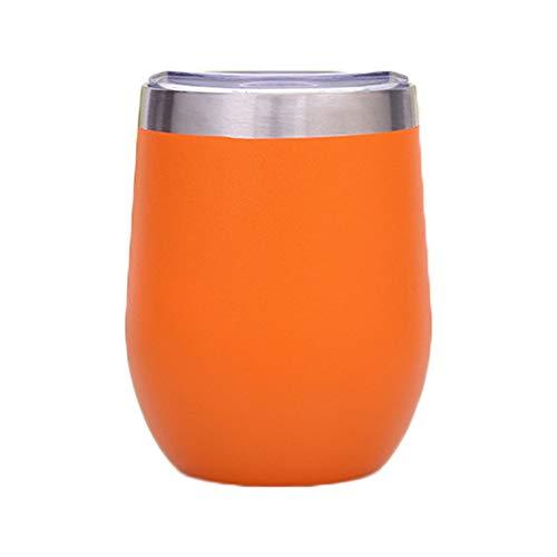 XIAMD Tasse Colorful 12Oz Egg Shapped Mug Wine Cups Stainless Steel Tumbler Insulated Thermos Cup Travel Coffee Mug Beer Mug,Orange,350Ml -