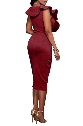 YMING Damen Partykleid Rüsche V-Ausschnitt Bodycon Midi Kleid Rot