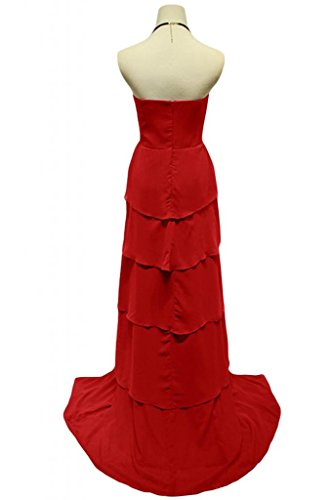Sunvary Chiffon A-line Sweeheart elegante, senza tacco basso Gowns Red