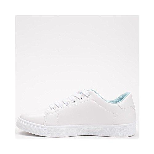 Ideal Shoes - Baskets en similicuir avec broderies et strass Monserra Bleu