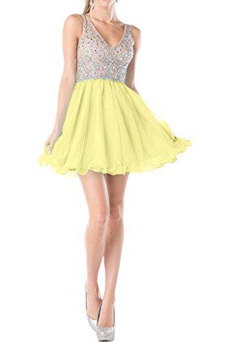 Victory Bridal 2016 Neu modisch Promkleider Heimkehrkleider Partykleider V-Ausschnitt A-Linie Rock Mini kurz Perlenstickerei zweiteilig Gelb