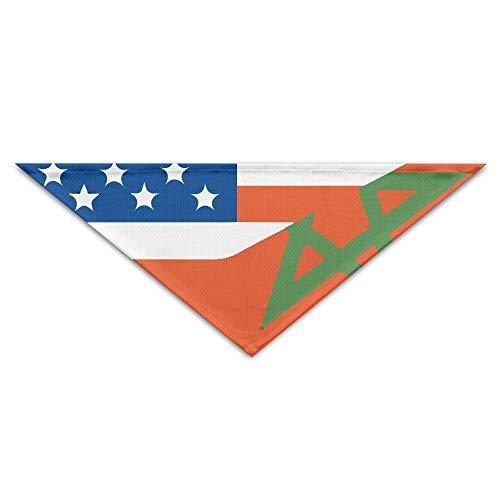 Hectwya Lovely Usa Morocco Half Flag Mehrfarbige Haustierbandanas für Ihren Hund oder Ihre Katze klein bis mittelgroß -