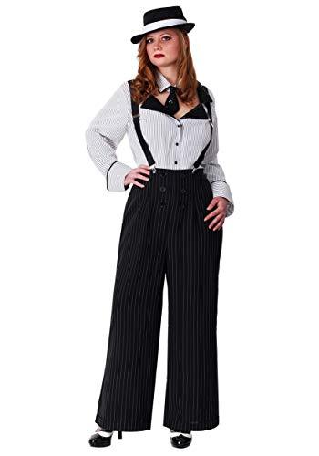 Plus Size Pinstripe Gangster Fancy Dress Costume (Gangster Kostüm Plus)