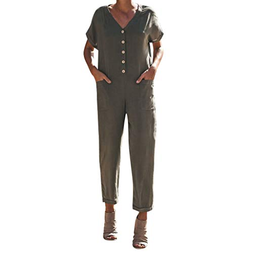 ZZXIAN Jumpsuits Damen Elegant Lang Chiffon, Overalls Deman Party Sommer Latzhosen Frauen Leinen Schwarz Bodysuit Sexy Cool Business (XL(EU40), Armeegrün-3) (Für Teenager Coole Kostüme)