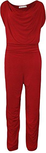 Chocolate Pickle ® Nouveau Mesdames Casquette manches Couleur rouge à col bénitier Jumpsuits 42-56 red