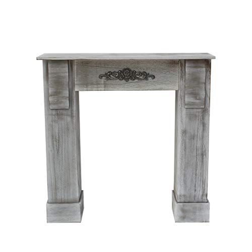 Mobili Rebecca® Marco Chimenea Decorativa Madera Gris Estilo Antiguo Pasillo Dormitorio Decoracion Hogar