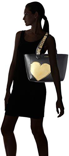 BORSA DONNA LOVE MOSCHINO CALF SHOPPING COLORE NERO B18MO11 Multicolore (Black/gold)