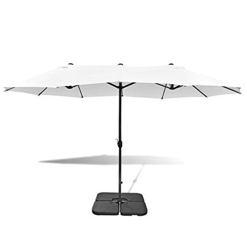 Anself Sonnenschirm Gartenschirm Schirm mit Ständer 2,7 x 4,6 m Aluminium Sandweiß