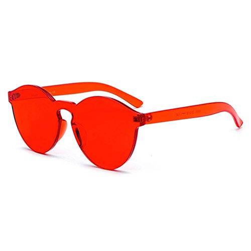 Candy Color Randlose Kunststoffglas WEIMEITE One Piece Objektiv Rot Sonnenbrille Damen Herren C5