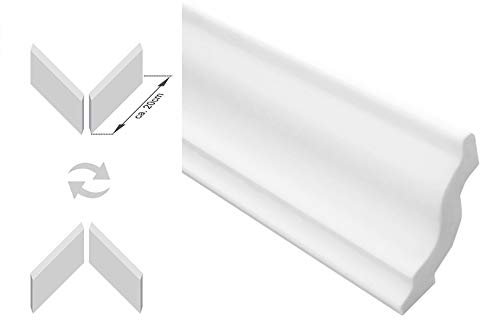 F/ür Decke oder Wand DECOSA Zierprofil G40 GIUSEPPINA 1 Leiste /à 2 m L/änge = 2 m Zierleiste aus Styropor 55 x 85 mm Edle Stuckleiste in Wei/ß