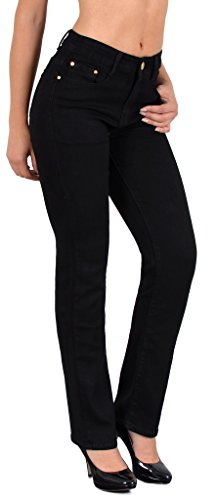 by- tex Damen Jeans Hose Damen High Waist Jeanshose Straight Leg Hochbund Hosen bis Übergröße 54, 56 #J23 (Bein-hosen-jeans)