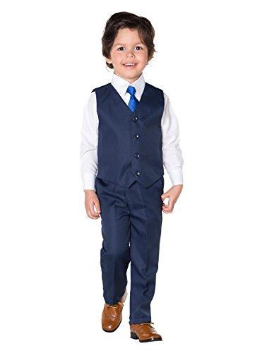 Shiny Penny, Niño Melange Azul Traje, Chaleco Para Traje Para Niño, Traje Ceremonia Niño, 3-6 meses - 8 años - Malla Azul, 02-03 Años