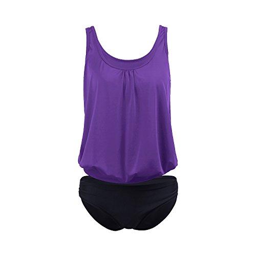 SUNNOW® Damen Tankini Bikini Set Figurbetont Einfarbig Badeanzug Push Up Top Strand Tankini Bikini Oberteil + Hose Lila