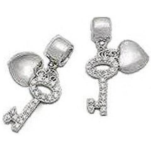 Diseño de corazón y de plata de ley para pulsera de estilo Pandora. Muy inusual, brillantes y impresionante encanto