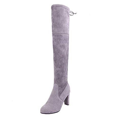 Damen Knie Stiefel Langschaft Boots - hibote 2017 Modische Langschaft Stiefel Herbst / Winter Warm Lange Stiefel Schwarz Grau (Pelz-knie-boot)