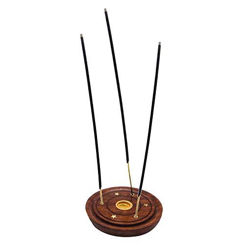 IndiaBigShop Handgemachte hölzerne Räucherstäbchen-Untertassenplatte Eschenfänger für Räucherstäbchen und runde Holzkohle-Halter