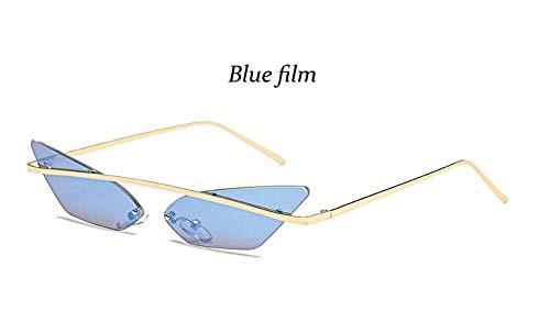 KONGYUER Sonnenbrillen, Brillen,Blaue Linse Hip-Hop-Sonnenbrillen Für Männer Randlose Triangle-Sonnenbrille Cat Eye-Förmige Frauen Spitze Hippie Retro-Coole Sonnenbrille Uv400