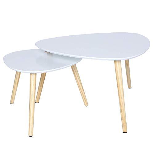 Happy Home 2X Couchtisch Beistelltisch Tisch Retro Ecktisch Kaffeetisch Satztisch Holz weiß