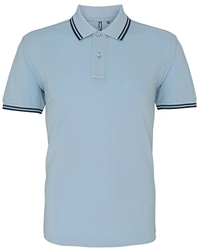 Asquith & Fox Mens Classic Fit Tipped Polo - 14 Colours / Sml-3XL Sky/ Navy