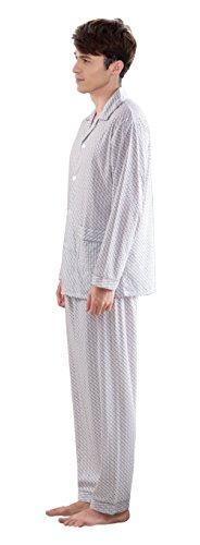 Herren Klassische Schlaf Und Entspannungsverschleiss Langes Hulsen Knopf Hemd Und Hosen Baumwoll Pyjamas Gray-3