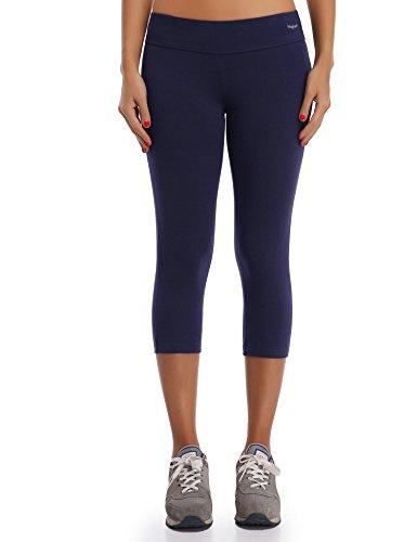 WingsLove Damen Capris Yoga Sporthose Laufenhose 3/4 Leggings Training Sport Strumpfhosen(Marine blau, M)