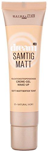 Maybelline New York Dream Samtig Matt Creme-Gel Make-Up Natural Ivory 01 / Schminke in einem hellen Hautfarben-Ton, für eine langanhaltende Abdeckung und einen frischen Look, 1 x 30 ml (Gesichts Make Ups)