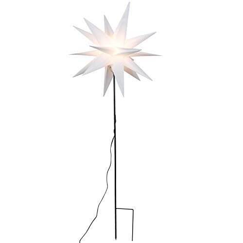 Gartenstab Stern weiß Ø 58 LED beleuchtet mit Erdspieß Weihnachtsbeleuchtung außen