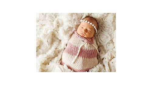 Matissa Baby Kleinkind Neugeborenen Hand gestrickt häkeln Strickmütze Hut Kostüm Baby Fotografie Requisiten Props (Kokon Baby Stripy Pink) -