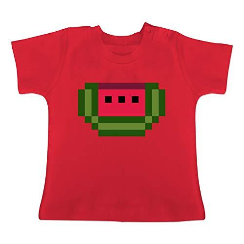 Karneval und Fasching Baby - Pixel Melone - Karneval Kostüm - 1-3 Monate - Rot - BZ02 - Baby T-Shirt Kurzarm