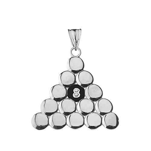 Anhänger Sterling-Silber 925 8 Kugeln Pool-Dreieck -
