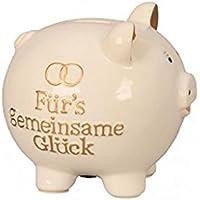 Grosses Sparschwein 18 x 19 cm weiß gold Hochzeit Ringe Spardose Sparbüchse preisvergleich bei kinderzimmerdekopreise.eu