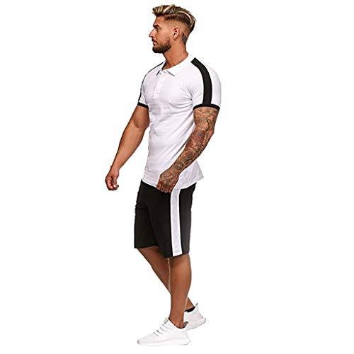 Auiyut Herren Sportanzug Zweiteiliger Short-Jogginganzug Shortanzug Sportanzug Short T-Shirt Trainingsanzug Sommer Biker Freizeitanzug Kurze Kurzhose Joggingshose Fitness T-Shirt