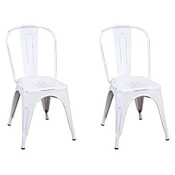 Fashion Commerce Tolix Set 2 Sedie, Metallo, Bianco Consumato, 84x44x48 cm