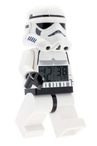 LEGO Star Wars 9002137 Stormtrooper Kids Minifigure Light Up Alarm Clock | black/white | plastic | 9.5 inches tall | LCD display | boy girl | official