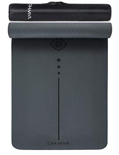 YAWHO Tapis de Yoga Tapis Fitness Tapis d'Exercice,matières de TPE,Dimension:183cmX66cm,épais de 6 mm,très Grand Tapis de Sport...