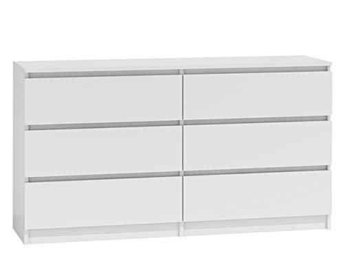 Kommode mit 6 Schubladen Malwa M6 140, Anrichte, Diele, Flur, Highboard, Mehrzweckschrank, Sideboard, Wohnzimmer, Esszimmer (Weiß)