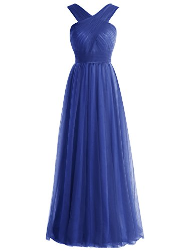 Bbonlinedress Robe de soirée et de demoiselle d'honneur A-line plissée col V sans manches et strass longueur ras du sol en tulle Bleu Saphir