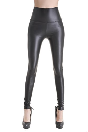 Queenshiny leggings cintura alta para mujer (negro mate, s)