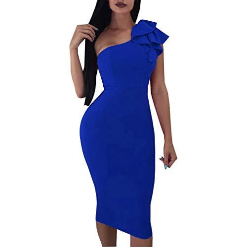 Dorical One-Shoulder Kleid Damen Midi-Kleid mit asymmetrischer Schulterpartie Wickelkleid Sexy eine Schulter Cocktailkleid aus Chiffon mit...