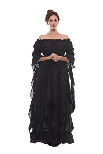 Nuoqi Viktorianisches Nachthemd Gothic Kleidung Damen Mittelalterliches Renaissance Kostüm S/M