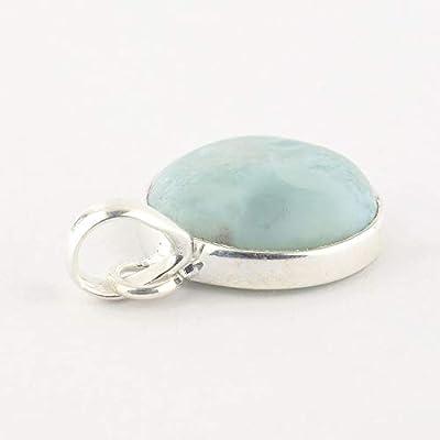 Pendentif rond de minéral Larimar bleu clair serti d'argent 925, 18x18x6 mm