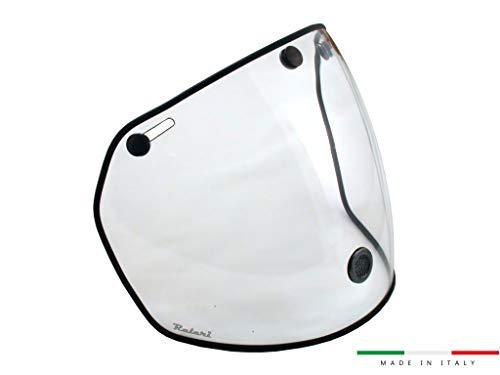 Raleri Airstream Visier Universal für Helme 3 Knöpfen für Verwendung Tag Anti-Beschlag für Helm Café Racer und Custom (Crytal Clear) Knopf-visier