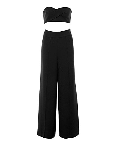 Whoinshop Damen Tube Top und Wide Leg Hose 2 Stück Cocktail Party Crepe Set Schwarz M (Crepe Leg Hose Wide Schwarz)
