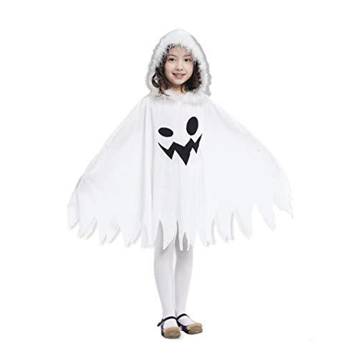 Delicacydex Bequeme Moderne Kinder Scherzt Halloween-Mantel-lustige weiße Geist-Muster-Langer -