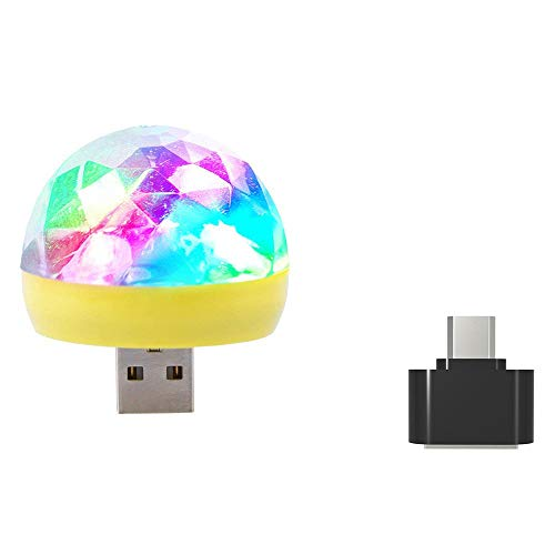 Webla Sound Control Stadion Licht Handy Mini Crystal Magic Ball Kleine Lichtsteuerung Bunte Sprachsteuerung Mit Adapter Usb Led Rgb Disco Bühne Licht Party Club Dj Ktv Weihnachten Phone Lamp (Gelb)