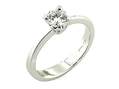 Solitaire Ring Sterling Silver Rhodium Plated Handmade