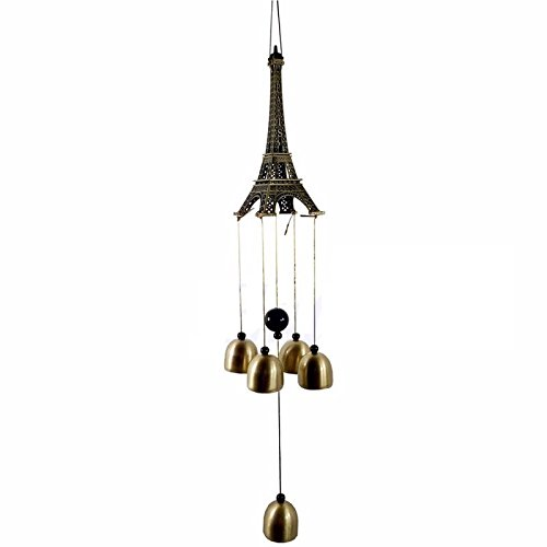 AtneP Lilone Gifts Eiffel Tower 4 Bells Copper Wind Chimes Church Home Yard Garden Hanging Decor