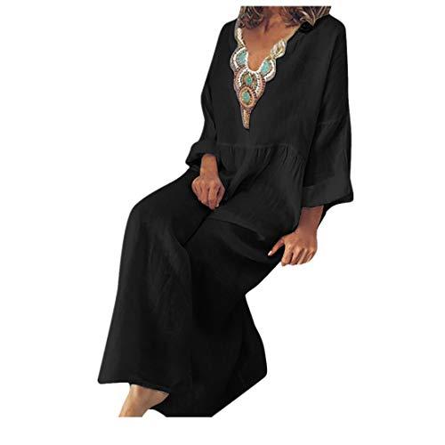 Langarm Leinen Kleid Lose A-Linie Party Print Sommerkleid Kleid ()
