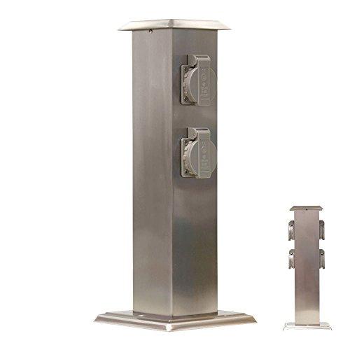 Grafner® Edelstahl Gartensteckdose 4-fach IP 54 Außensteckdose Mehrfachsteckdose Energiesäule