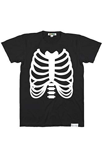 Herren Skelett T-Shirt Halloween Kostüm Top - Schwarz - XX-Large